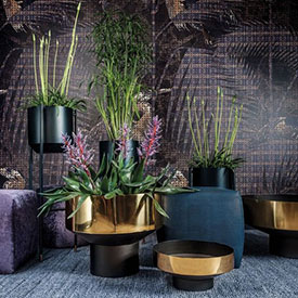 Dome Deco interior design with gold colored accent tables and large planters