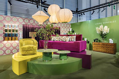 Laura Gonzalez maison & objet - yellow chair and purple couch with green accent tables