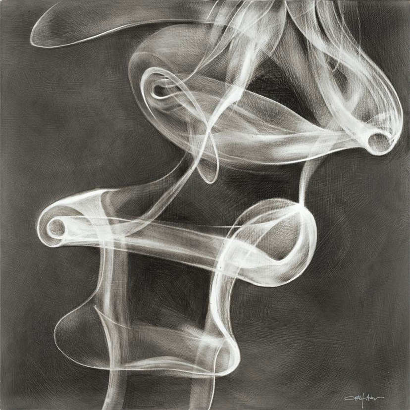 painting of white smoke wafting on a grey background by craig alan