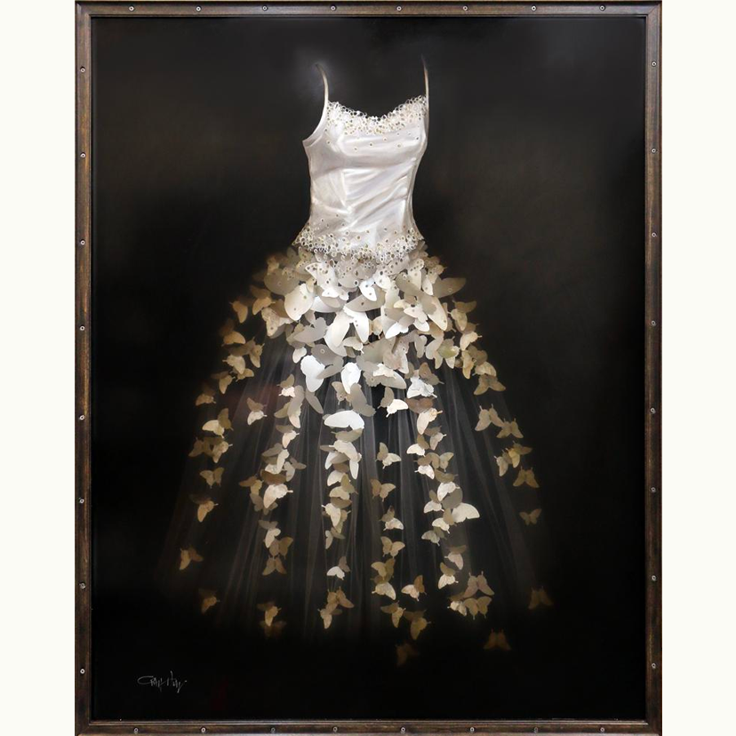 painting of a white wedding dress with pedals as the train by craig alan