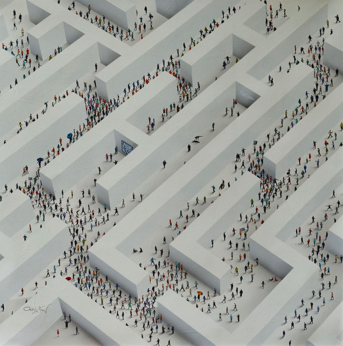 craig alan painting of tiny people walking around an endless maze