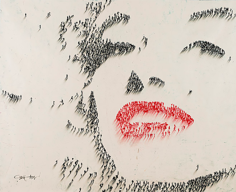 painting of Marilyn Monroe that is a mosiac of a bunch of small people by craig alan