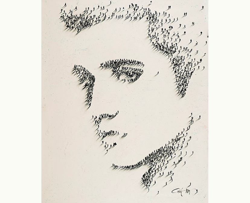 painting of Elvis Presley that is a mosiac of a bunch of tiny figures by craig alan