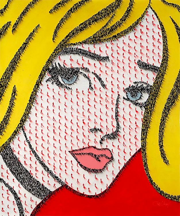 pop art painting of a blonde woman on a red background