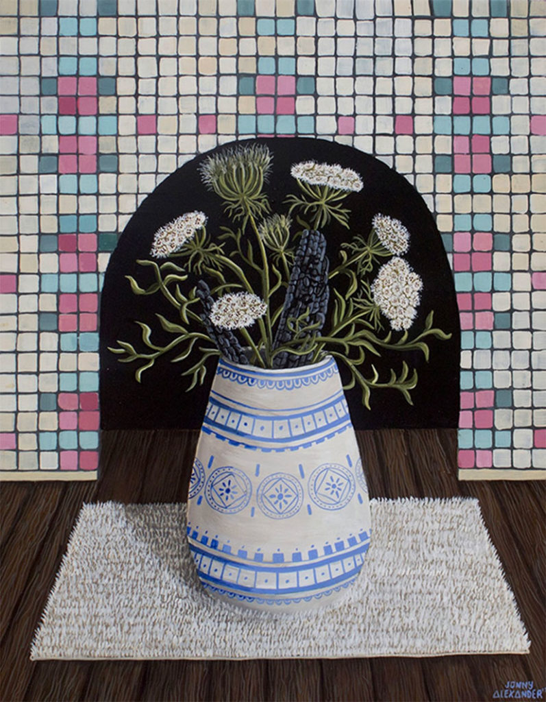 painting of a pot of flowers in front of a mosiac-tiled wall by jonny alexander