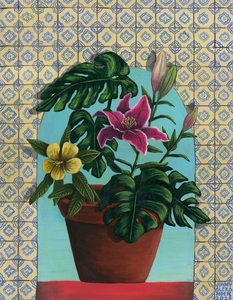 painting of a pot of flowers sitting in front of a floral tiled wall