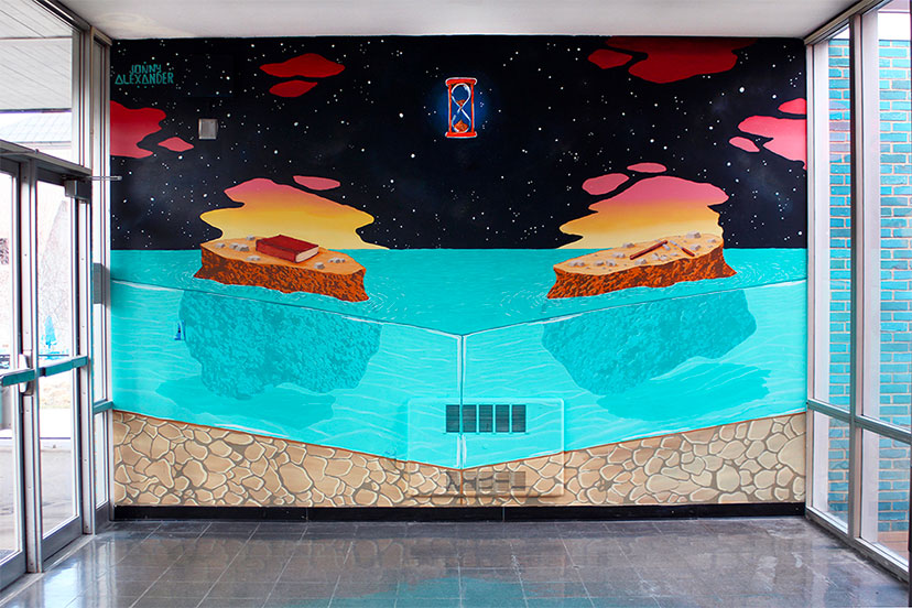mural on an office wall with two islands floating in water by jonny alexander