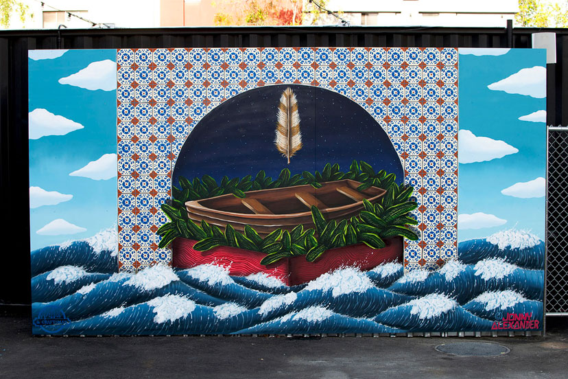 mural of a rowboat on wavy water by jonny alexander
