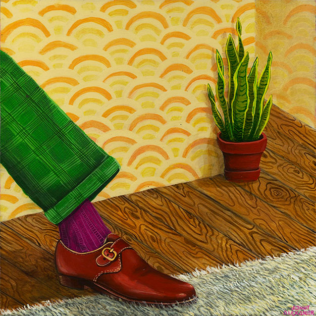 painting of a green pant leg with a formal shoe stepping on a wood floor with a yellow wallpaper background