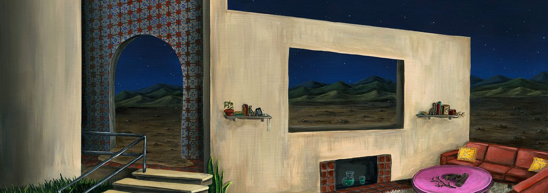 painting of a house in the desert with only a few walls by johnny alexander