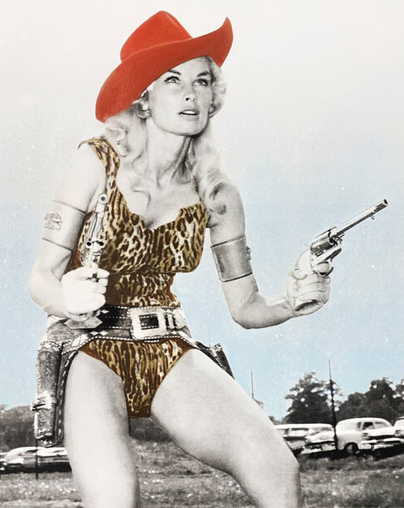 Reagan Corbett old photograph with color added of a woman in a cowboy hat with two guns