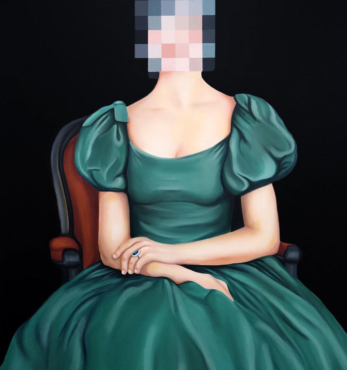 Reagan Corbett pixelated artwork of a woman in a green dress sitting on a chair