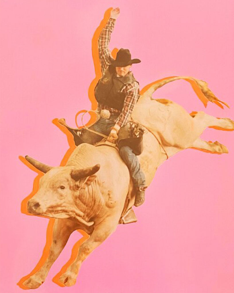 Reagan Corbett pink background of a man riding a bull