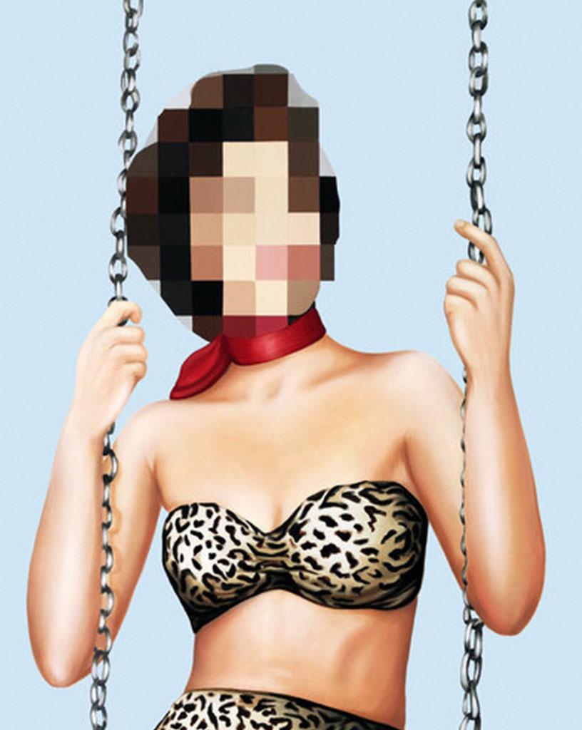 Reagan Corbett pixelated artwork of woman on swing